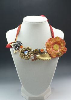 """""""Floral Garden"""" Ceramic, Brass and Crystal Necklace by Madeline Henry"""