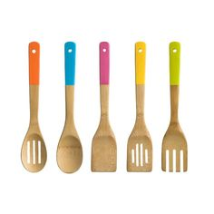 FIVE PIECE COLOUR HANDLE WOODEN KITCHEN 5 UTENSIL SET COOKING TOOL BAMBOO WOOD