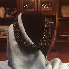 "Multi Strand Bead Necklace Black seed beads & bugle beads and iridescent beads. Choker length of 8"" to 9-1/2"" (extender clasp). Staple piece that can be worn with anything for any occasion. Questions? Please ask. Fair & reasonable offers welcome. Trades️️ Ann Taylor Jewelry Necklaces"