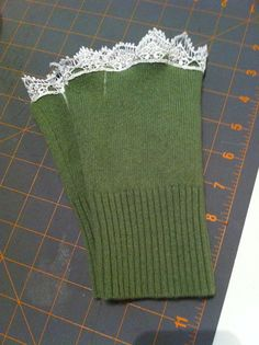 Green cashmere lacy fingerless gloves handmade by TheCashmereGirl, $25.00