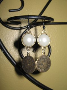Antiqued pearl clock charm earring set by Moonshinez on Etsy, $10.00