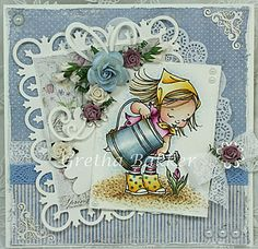 card by Gretha Bakker.... love the colors and how she colored the metal watering can