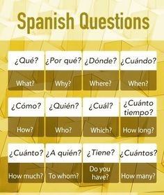 Simple language learning: Question words in Spanish . Simple language learning: Question words in Spanish . Spanish Practice, Spanish Lessons For Kids, Learn To Speak Spanish, Spanish Basics, Study Spanish, Spanish Lesson Plans, Spanish English, Learn English, French Lessons