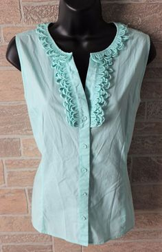 Talbots Sleeveless Button Front Shirt Light Blue Blouse Womens 10 Stretch Cotton #Talbots #Blouse #Summer