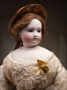 """*ANTIQUE ~ French bisque Fashion Doll marked """"B.S."""" attributed to Blampoix with extra neck articulation, c. 1885"""