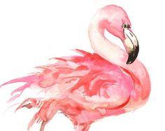Flamingo Painting, Original watercolor painting, 14 X 11 in, flamingo lover art, bird painting, pink flamingo art