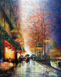Imágenes Arte Pinturas: Paisajes de Ciudades Parisinas Diseños Impresionistas, Kal Gajoum Trípoli Líbano