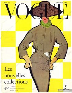 Christian Dior 1956 Vogue cover, Tailleur gabardine Prudhomme, Corsage Ducharne, René Gruau
