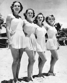 The latest in beach fashions - strapless bathing suits. Miami, Florida, 1938