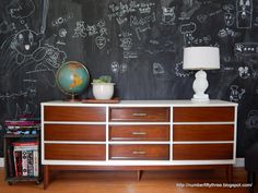 Number Fifty-Three: Repaired Refurbished MCM Dresser with antique walnut stain and antique white paint