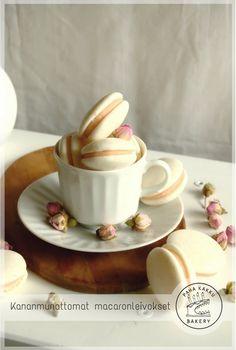 Kananmunattomat macaronleivokset Pastries, Bakery, Tableware, Dinnerware, Tarts, Bakery Shops, Dishes, Cake, Baking