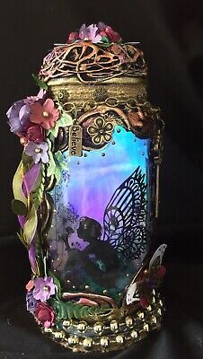 Enchanting Fairy In A Jar Light ,pixie,magical,OOAK, Mythical,fantasy,Gift  | eBay Enchanted Fairies, Fantasy Gifts, Power Colors, Fairy Jars, Color Changing Lights, Beautiful Fairies, Jar Lights, Gold Beads, Purple Flowers