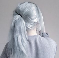 Intense ash blonde hair - to get this colour, lighten to pale yellow and then tone with 9A for that over-toned slight blue tinge of silver...