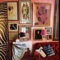pink wall  gallery wall  boho feel  Miles Redd