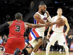 Detroit Pistons guard Darrun Hilliard (6) goes to the basket past Chicago Bulls guard Dwyane Wade (3) during the second quarter of an NBA basketball game, Tuesday, Dec. 6, 2016 in Auburn Hills, Mich.
