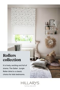 In this nursery we've doubled up Roller Blinds for the ultimate solution in privacy and light control. With a plain neutral background, Reagan Sunshine Roller blind is versatile enough to slip straight in to the Scandi inspired interior theme. Safari Jungle Roller blind is a fun and cheerful print that brings a little colour to the décor while remaining a calm enough that it won't keep your little one awake at night. View how to get this look and order your samples to get the look.