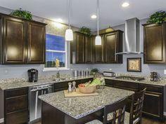 Transitional Kitchen with Kitchen island, Complex Granite, The Shade Store Custom Cornice, Raised panel, Hardwood floors