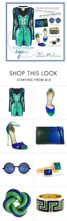 """""""Blue & Green"""" by jessicad110916 ❤ liked on Polyvore featuring Casadei, Christian Louboutin, Boohoo, Pippa Small, Tiffany & Co., Zara Taylor, Blue, GREEN and beautifulmixups"""