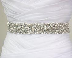 "SALE 20% Off - Best Seller - MONACO - 1 1/2"" Swarovski Pearls Encrusted Bridal Sash, Wedding Beaded Sash Belts"