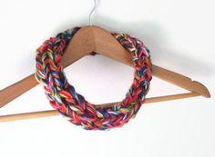 Rainbow Collar .. Multicolor Scarf Necklace .. Crochet by DottieQ, $30.00