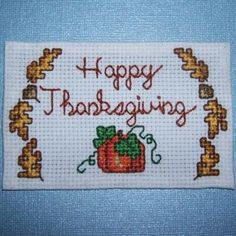 Happy Thanksgiving Cross Stitch Magnet....never would have thought to turn patterns into magnets