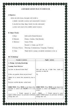 Science Lesson Plan for Kindergarten Unique 1 A Detailed Lesson Plan In Science Iii I Objectives at Grade 1 Lesson Plan, Lesson Plan Pdf, Health Lesson Plans, Lesson Plan Format, Lesson Plan Examples, English Lesson Plans, Daily Lesson Plan, Science Lesson Plans, Teacher Lesson Plans