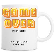 Retro Game Over Drink Again? 11oz Ceramic Coffee Mug