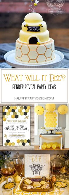 baby reveal Honey bee party ideas for a What will it bee Gender reveal party. Find more fun bee themed details on Halfpint Design. Also great for a Happy Bee-day party or Mommy to Bee and Sweet as can Bee baby showers Bee Gender Reveal, Gender Reveal Themes, Baby Gender Reveal Party, Baby Reveal Party Ideas, Baby Reveal Ideas To Parents, Baby Name Reveal, Gender Reveal Gifts, Gateau Baby Shower, Baby Shower Cakes