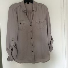 Gray silk like top Great classic top. Easy to wear year round in perfect gray color. Never worn Forever 21 Tops Blouses