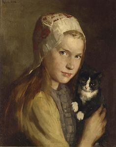 A Girl with Her Cat by Hendrik Maarten Krabbe