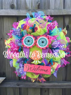 Owl spring summer welcome wreath!!! Vibrant colors!