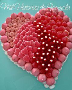 Tarta chuches, corazón, rojo, celebraciones, cumpleaños, bodas, san valentín