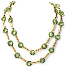 Vintage Retro Jade Yellow Gold Long Necklace  #vintagejewelry #retro #jade #gold #necklace #consignment
