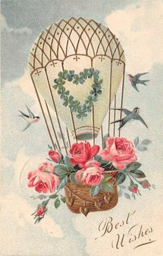 PFB Best Wishes~Hot Air Balloon~Pink Rose Basket~Barnswallows in Clouds~Emboss | eBay