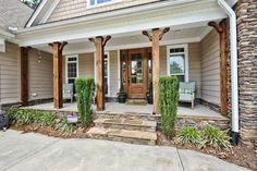 Back Porch Steps Beautiful Stock Cedar Porch Columns Style Front Porch Pillars – Plink Design Front Porch Posts, Front Porch Columns, Farmhouse Front Porches, Front Porch Design, Cedar Porch Posts, Porch Beams, Front Porch Deck, Front Porch Remodel, Concrete Front Porch