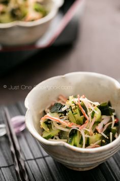 Japanese Cucumber Salad | JustOneCookbook.com - skip the crab stick and omit fish flakes from dashi stock for true VEGAN (or use water in place of dashi as suggested).