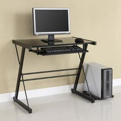 Home Office Glass Metal Computer Desk - Black - Saracina Home Metal Computer Desk, Desk With Keyboard Tray, Top Computer, Computer Desks, Office Desks, Contemporary Desk, Modern Desk, Black Desk, Home Office Furniture