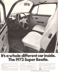 1973 Volkswagen Super Beetle interior shown in print by Vividiom, $8.00