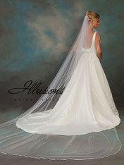 "Single tier, circular cut, 3/8"" ribbon edged cathedral length veil."