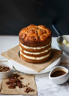 boozy caramel cinnamon roll cake