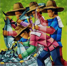 Items similar to Mga Mangingisda - (Fishermen) Cross Stitch PDF Pattern on Etsy Modern Cross Stitch Patterns, Cross Stitch Designs, Filipino Art, Cubism Art, Black And White Painting, Black Art, Cross Art, Colorful Paintings, Watercolor Paintings