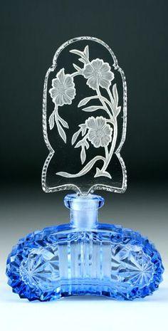 1930's Czech deco blue cut glass scent bottle
