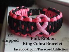 Pink Ribbon king cobra parachute cord bracelet, hand made just for you