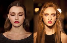 Twiggy's lined peepers and Brigitte's big bouffant are frequent points of reference backstage, but get ready to meet a very different kind of hair and makeup muse. Kristian Aadnevik has modernised the look of the Duke of Wellington's wife to bring us soft, multi-tonal locks and English Rose red pouts.