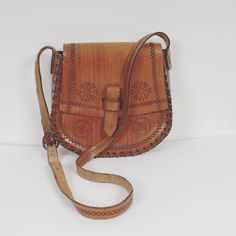 Vintage 70s Tooled Leather Saddle Bag Caramel Brown Bag Small Shoulder Bag Thick Leather Bag Genuine Leather Handmade Bag Festival Bag by KukkaRamba on Etsy