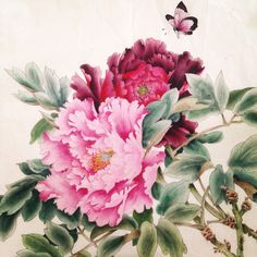 Два пиона Peony Painting, Fruit Painting, Watercolor Flowers, Watercolor Art, Japanese Painting, Chinese Painting, Chinese Art, Asian Cards, Art Floral