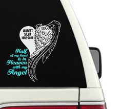 Half Of My Heart Is In Heaven With My Angel// Custom In Memory Of Car Decal. This Decal Comes In 3 Different Sizes So Please Make Sure You Choose The Best Fit // Quick Installation (Easy to Understand Application Instruction Included) •No Hassle of Painting •Cut from Specialized Vinyl (with no edges or backgrounds) Specifically Designed for Home Décor. •Lasts for Many Years •Can Easily be Removed (Cannot Be Re-Used) •For best results do not use on textured walls...
