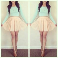 Skirt: pale yellow, pale, mint, spring, winter, mini skirt, skater ...