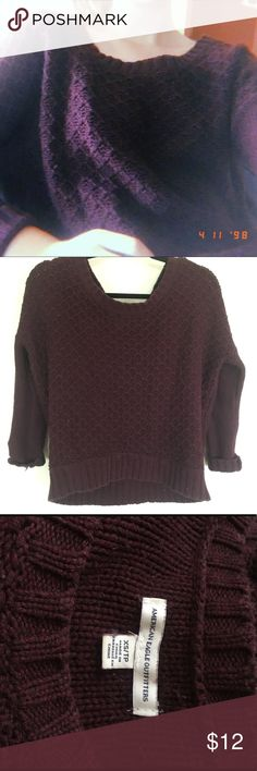 Plum chunky knit wide kneck sweater Been sitting on my shelf untouched for ages! Worn only a few times, great condition & quality of fabric. American Eagle Outfitters Sweaters Crew & Scoop Necks