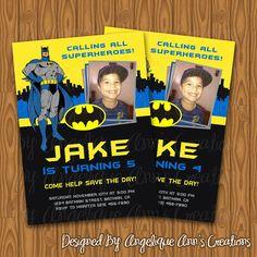 Batman Theme Birthday Party Photo Invitations on Etsy, $13.99